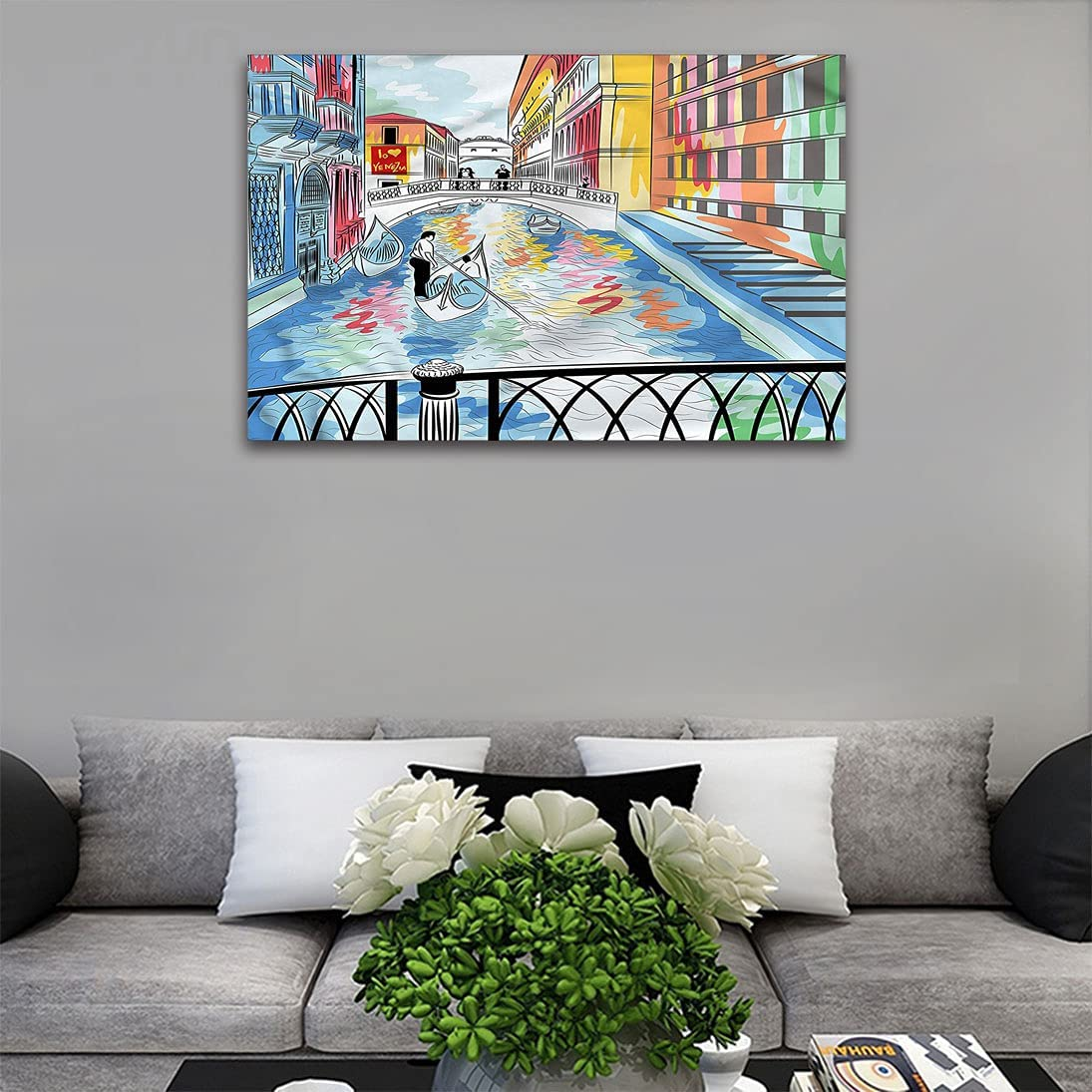 Venice Bombing free shipping Canvas Wall Painting Colorful Sketch a Landscape of B The Safety and trust
