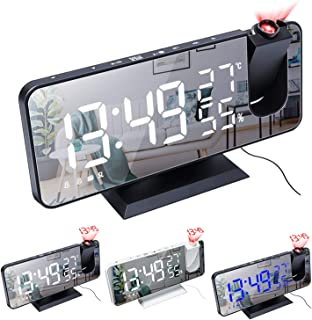 XFTOPSE Rádio relógio, despertador digital com projeção de LED para quarto, relógio espelhado digital com carregador USB, ...