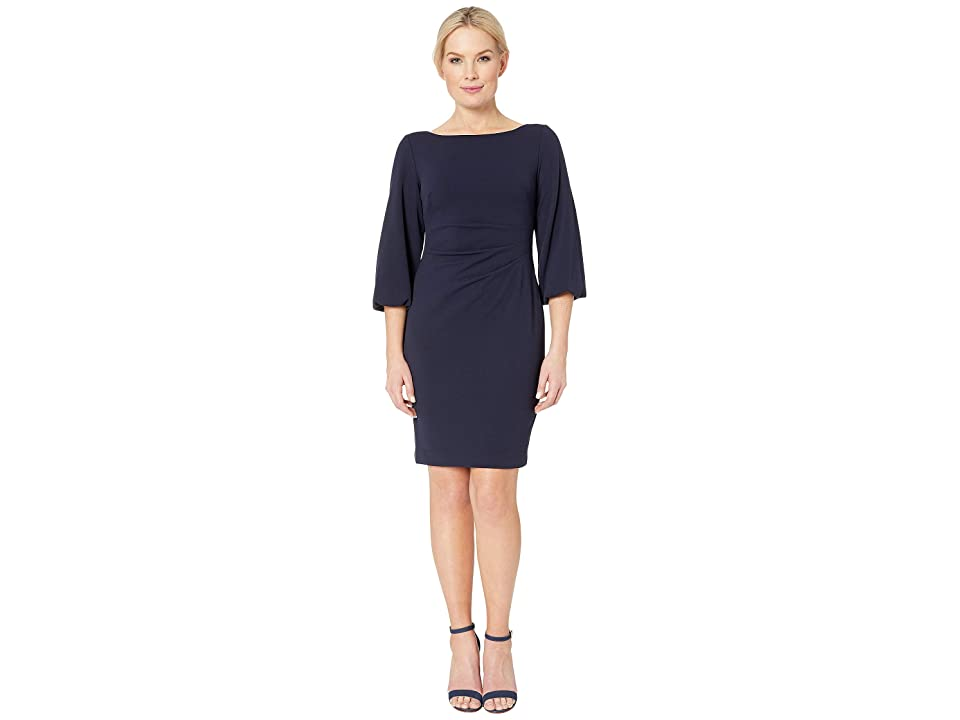 LAUREN Ralph Lauren Petite 130H Luxe Tech Crepe Louisa Elbow Sleeve Day Dress (Lighthouse Navy) Women