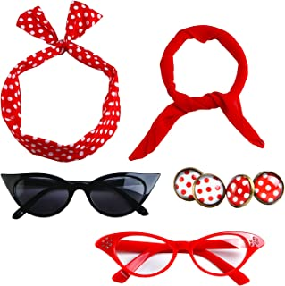 6 Pack 50s Set Chiffon Scarf Cat Eye Glasses Bandana Tie Headband Earrings