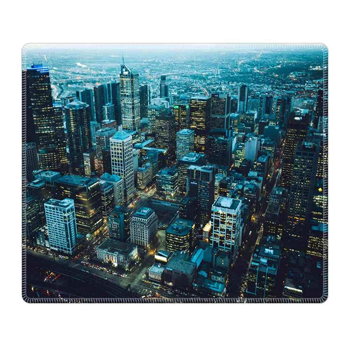 Mouse Pad Large Mousepad for Gaming Bird's Eye View of City Rectangle Rubber Cloth Mat (26CM x 21CM x 3MM) for Computer Laptop MacBook