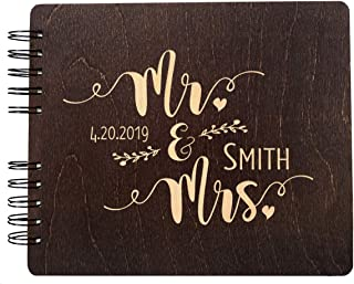Mr. and Mrs. Personalized Hand Made Wood Guest Book (11x8.5