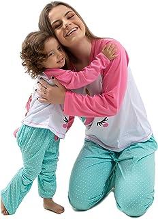 Kit Mae e Filha Pijama Unicornio Adulto e Infantil Com Tapa Olho
