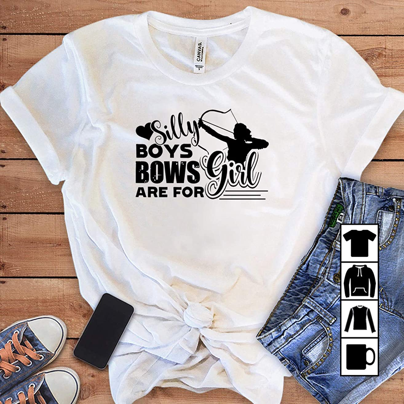 Bowman Archer Archery Silly boy bows are for girl T Shirt Long Sleeve Sweatshirt Hoodie Youth