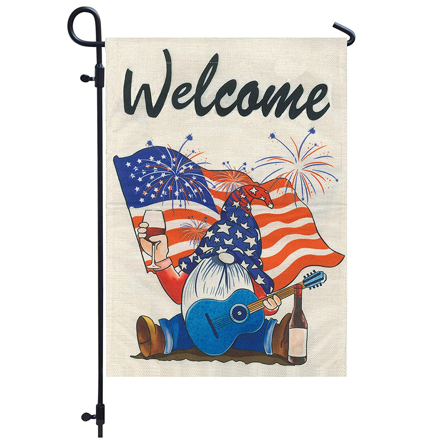 LHOYIR Welcome Gnomes Garden Flag Columbus Mall Special price for a limited time Pat American July 4th Of