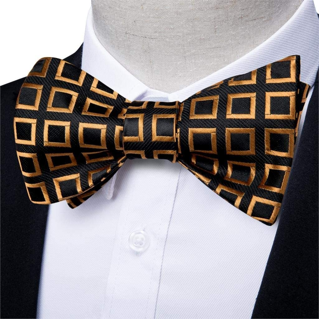 CDQYA Men Butterfly Tie Gold Blue Plaid Self Bowtie For Men Silk Hanky Cufflink Suit Collar Removable Necktie