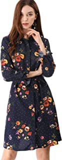 Women's Lapel Button Down Belted Above Knee Vintage Polka Dots Floral Shirt Dress