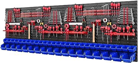 Gereedschapswand stapelboxen - 2304 x 780 mm - opslagsysteem SET gereedschapshouders en 46 blauwe dozen - wandrek werkplaa...