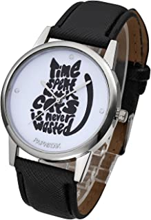 Unique Casual Letters Cat Dial PU Leather Strap Analog Quartz Watch Cute Lovely Cartoon Pattern Wrist Watch