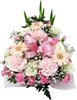 お供え お悔み 法要 四十九日 生花 フラワーアレンジメント リボン 入り 高さ35cm (リボンの色:ピンク)