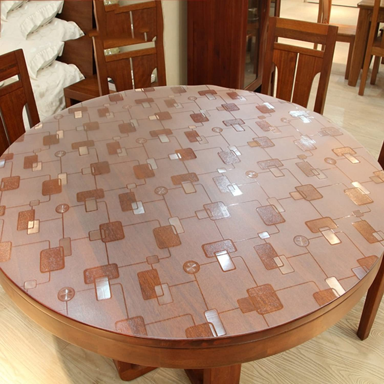 Nappe de cuisine Nappe ronde à motifs, Toile ronde à l'eau imperméable en PVC Manteles à table ronde en verre doux anti-chaleur (Couleur   Round 2.0mm, taille   Round 90cm)