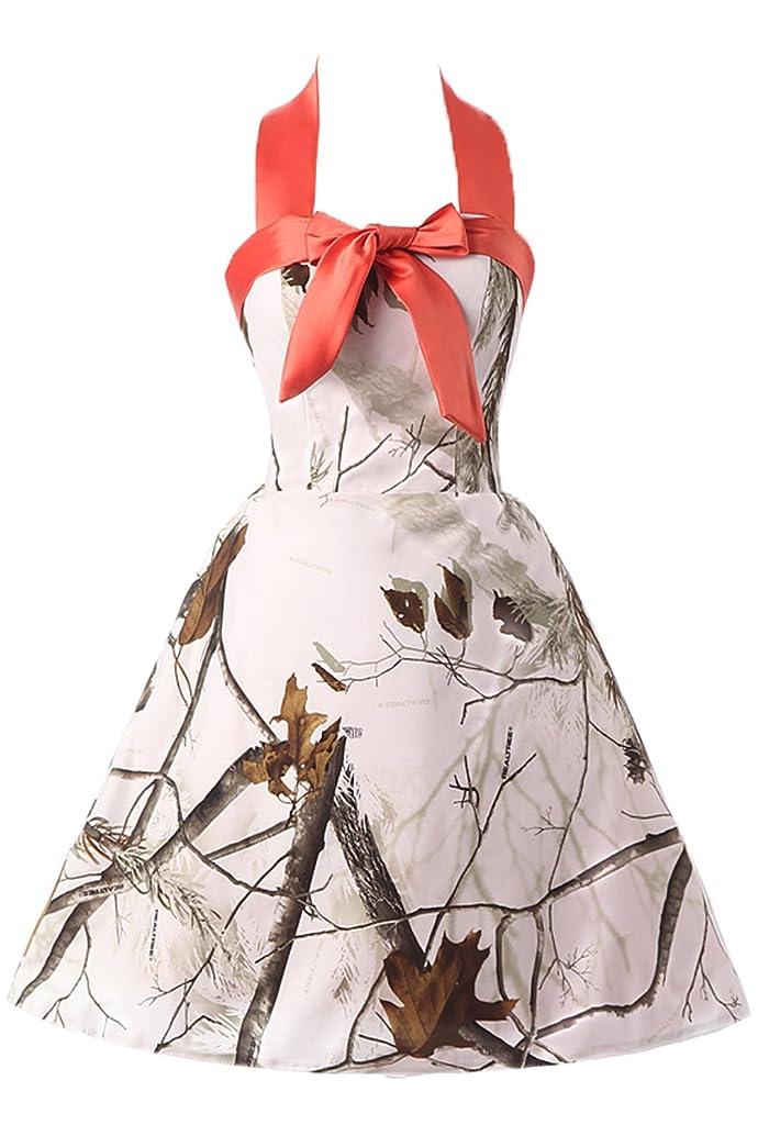 DINGZAN White Camo Wedding Guest Bridesmaid Dresses Mini Maxi Prom Gowns Halter