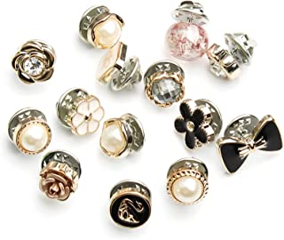 XFBH Lot de 10 boucles dissimulées amovibles et réglables sans couture avec perles pour décoration de chemise, accessoires...