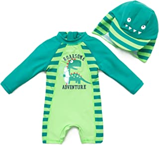 BONVERANO Baby Infant Boy`s UPF 50+ Sun Protection L/S One Piece Zip Sunsuit