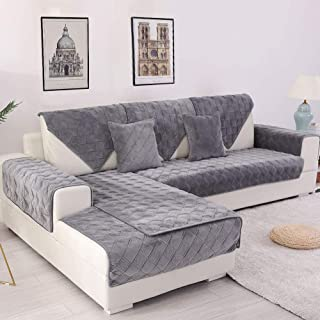 Deep Dream Sectional Sofa Covers, Velvet Sofa Slipcover Furniture Protector Anti-Slip Couch Covers for Dogs Cats Kids 36 x 70 Inch - Dark Grey (Sold by Piece/Not All Set)