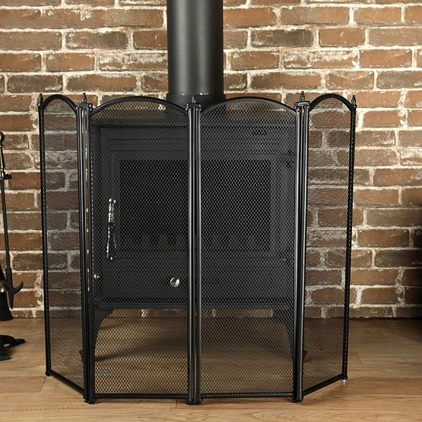 最後にめまいポーチ暖炉スクリーン 大型4パネル暖炉スクリーン、金属メッシュの錬鉄製フレーム、自立ゲートスパークガードカバー、38 W×28 H、黒