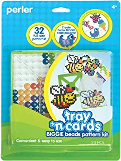 Perler Beads Pattern Cards and Perler Pegboards for Biggie Beads, Fuse Bead Activity Kit for Kids Crafts, 20 pcs