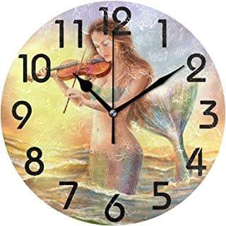 Dozili Mermaid Round Wall Clock Arabic Numerals Design Non Ticking Wall Clock Large for Bedrooms,Living Room,Bathroom