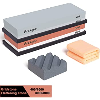 Sharpening Stone,Whetstone 240//800 Grit Dual-Sided Water Stone Sharpener,with Non-Slip Bamboo Base /& Flattening Stone for Kitchen Outdoor Tactical