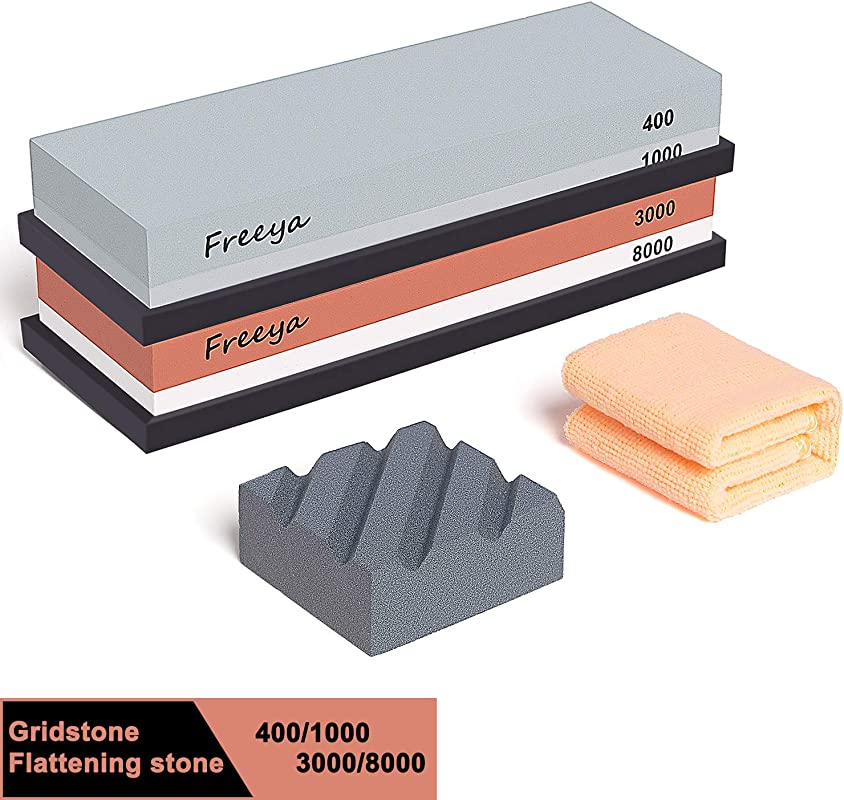 Complete Knife Sharpening Stone Set With Flattening Stone Premium 400 1000 Grit Water Stone 3000 8000 Grit Water Stone Best Whetstone Knife Sharpener Flattening Stone NonSlip Silicone Holder Towel
