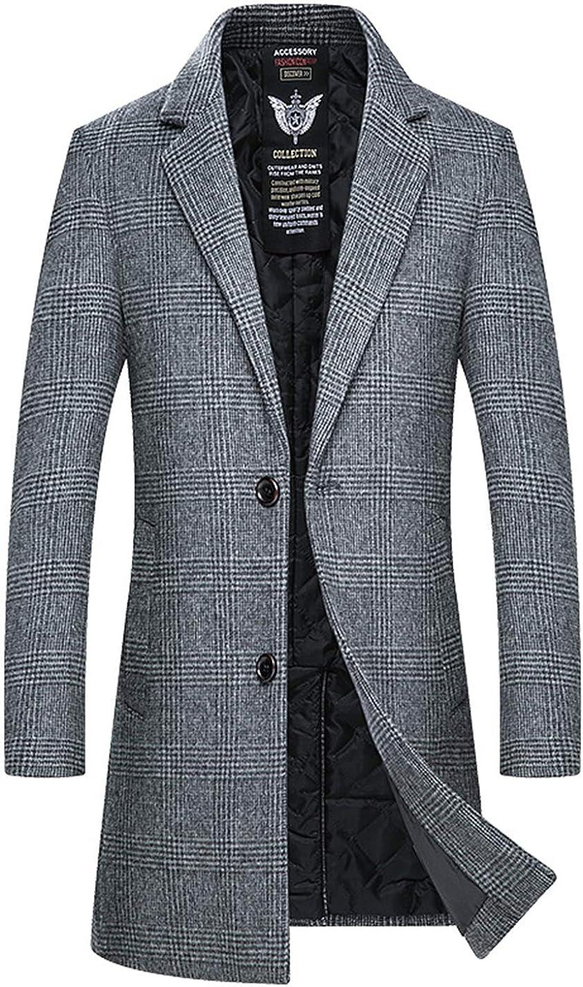 Men Slim Fit Plaid Winter Dress Coat Wool Blend Thick Pea Coat with Pockets