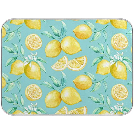 "Yellow lemon teal background Dish Drying Mat for Kitchen Counter - 18"" x 16"" inch Microfiber Dish Mat Absorbent Drying Pad Dish Drainer Mats for Countertop Heat-resistant and ECO Friendly"