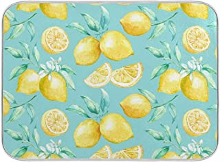 """Lemon Dish Drying Mat for Kitchen Counter - 18"""" x 16"""" inch Microfiber Dish Mat Absorbent Drying Pad Dish Drainer Mats for ..."""