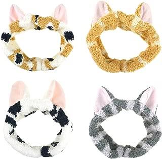 DRESHOW Spa Facial Headbands Terry Cloth Towels Headbands Cute Cat Ear Hairband for Women Wash Face Makeup Mask Headbands