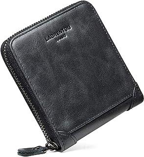 LAORENTOU Genuine Leather Wallets for Men RFID Blocking Multi Card Holder Mens Slim Bifold Wallet for Men with Zipper (Black)