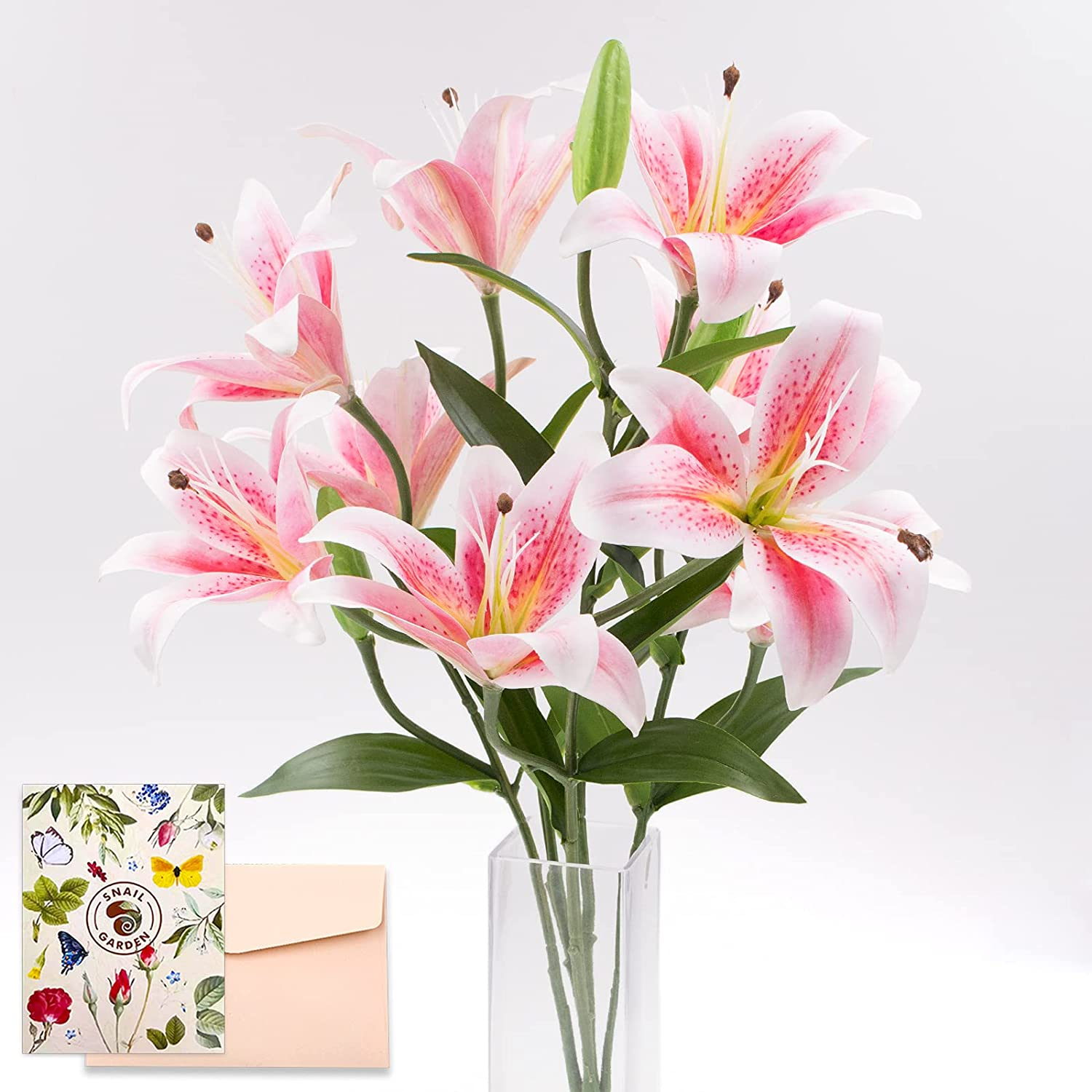 SNAIL GARDEN 12 Heads Artifical Lily Flowers, Long Stem Artificial Lilies with 9 Heads Full Bloom Lily & 3 Lily Buds-Faux Tiger Lily Bouquets for Home Hotel Flower Arrangement Party Decor(Pink White)