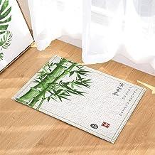 Jszna Green Plant Decor Asian Watercolor Painting Bamboo Bath Rugs Non-Slip Doormat Floor Entryways Indoor Front Door Mat Kids Bath Mat 15.7x23.6in Bathroom Accessories