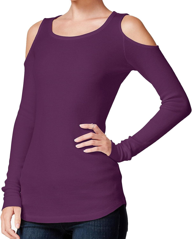 Chelsea Sky Women's Long Sleeve ColdShoulder Top, Egglplant Purple (XSmall)