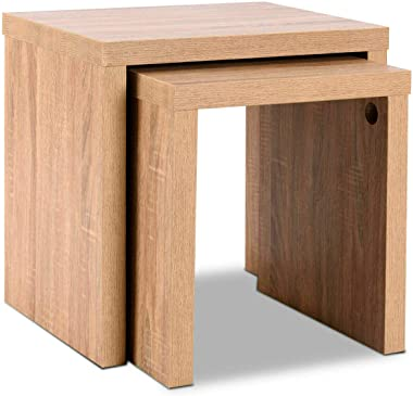 Nesting Coffee End Table Side Table Wood Color Living Room Furniture Set of 2