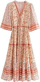 Top-Vigor Boho Dresses for Women 3/4 Long Sleeve Floral Print Retro V Neck Tassel Bohemian Midi Dresses