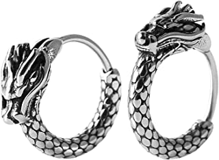 HZMAN Men Women 2pcs Punk Rock Silver Dragon Stainless Steel Perforated Round Stud Earrings Jewelry Gift