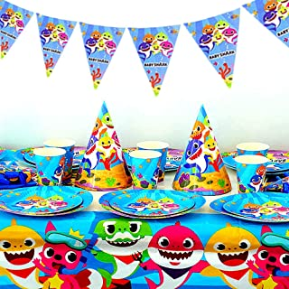 Shark Party Supplies Set - Shark Themed Party Decoration for Kids Birthday Cutlery Bag Table Cover Plates Cups Napkins Straws Utensils Banner invitation card & Gift Box,183 PCS Baby Shark Party Decoration