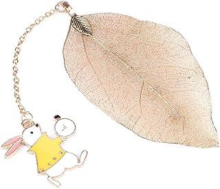 Marque-page à feuille en métal doré vintage avec pendentif représentant Alice, le lapin ou la montre pour lire vos livres...
