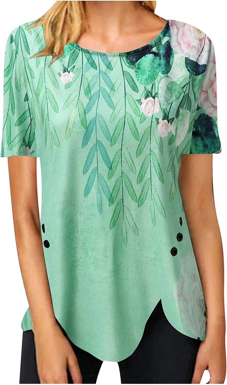 Womens Summer Tops Dressy Short Sleeve Loose Fit T Shirts Trendy Floral Printed Crewneck Asymmetry Hem Tunic Blouses