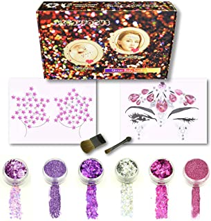 Face jewels Festival Body Jewelry Set Holographic Glitter Powder Cosmetic Makeup Chunky Tattoo Kit Hair Eye Rhinestones Stick On (GS-02)