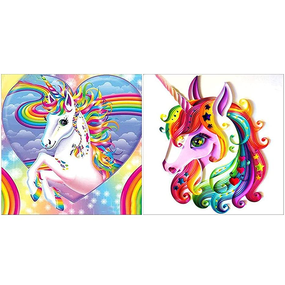 2 Packs 5D DIY Diamond Painting Kits for Adult Unicorn Full Drill Paint with Diamond Gem Painting Pictures Arts Craft for Home Decor by INFELING