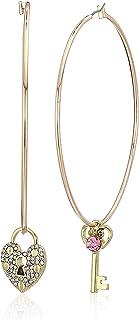 Betsey Johnson Women's Pink Stone Heart Locket Mismatched Hoop Earrings, One Size