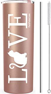LOVE Cat 20 Oz Stainless Steel Tumbler with Straw | Mug, Cup, Coffee, Wine, Waterbottle| Funny Birthday Gifts for Women| Birthday Decorations| Funny Birthday Wine Gifts Ideas for Her, BFF, Wife, Mom