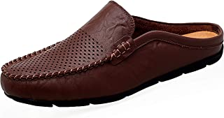 Go Tour Mens Mules Clip Slippers Slip Leather Slip Leather Slip on Shoes Casual Loafers