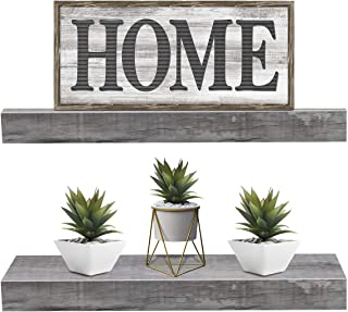Best Sorbus Floating Shelf Set — Rustic Wood Hanging Rectangle Wall Shelves — Perfect for Home Décor, Trophy Display, Photo Frames, and More (2-Pack, Grey) Review