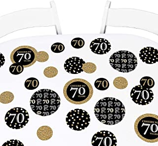 Big Dot of Happiness Adult 70th Birthday - Gold - Birthday Party Giant Circle Confetti - Party Decorations - Large Confetti 27 Count