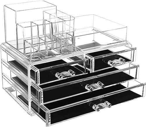 SONGMICS Organiseur de Maquillage, avec boîte de Rangement en matière Acrylique avec 2 présentoirs et 4 Grands tiroir...