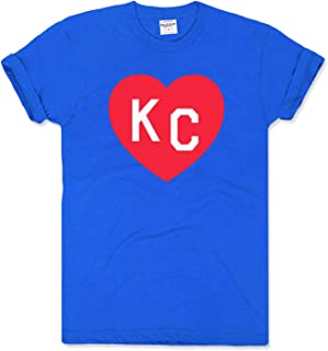 Charlie Hustle Unisex Blue and Crimson KC Heart T-Shirt