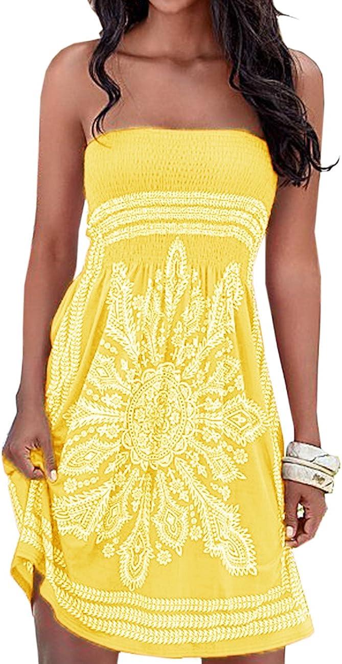 SEMATOMALA Women's Summer Dress Strapless Floral Print Bohemian Casual Beach Dress Cover Ups for Swimwear Women