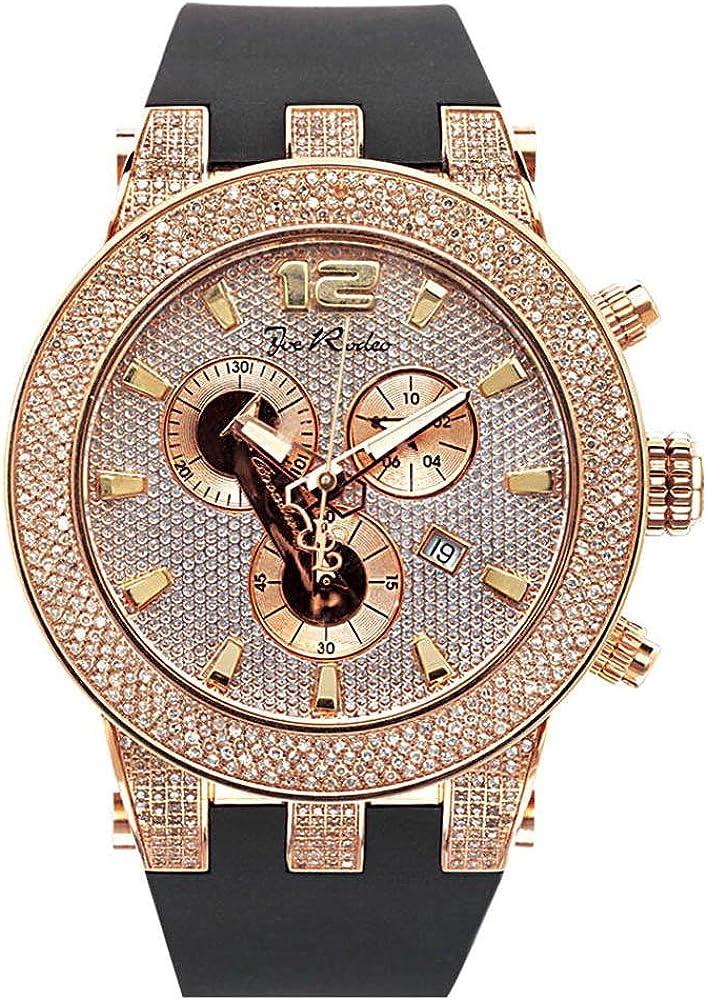 Joe rodeo diamond broadway,orologio,cronografo per uomo,cassa in acciaio placcato oro rosa, con diamanti JRBR6
