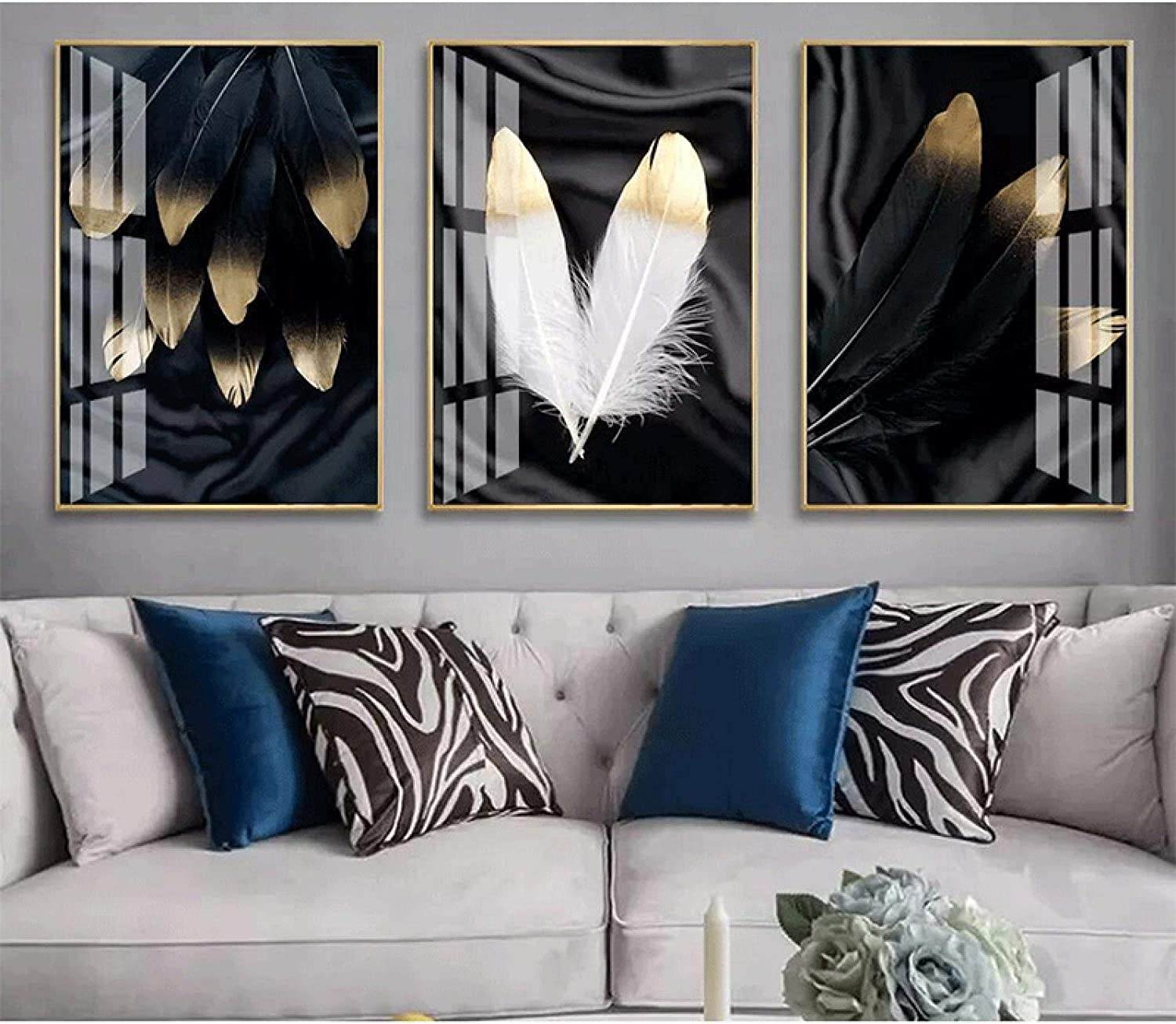 Sunsightly Print on Canvas 5 Animer and price revision ☆ very popular Black White Gold and P Poster Feather